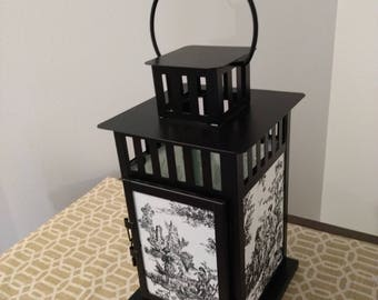 Decorative metal Lantern with black and white toile fabric