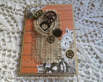 "Photo flip page album, handmade, 4""x 5-1/2"",  rustic, gears, burlap 10 photos or 20  instagrams,  brown, gold, peach, wood grain, cardstock."