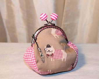 """Dogs humanized"" pink gingham pattern cotton RETRO wallet"