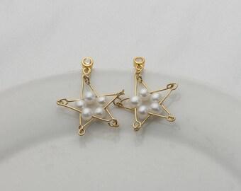 Handmade Star Shape Fresh Water Pearl Earrings, 925 Silver Cultured Pearl Earring