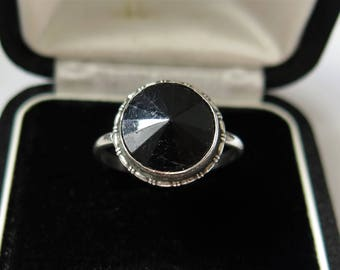 Vintage Sterling Silver And Onyx Ring Vintage Ring 1950s By TM&Co Birmingham