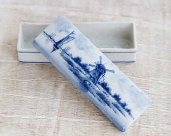 Windmill Ring Box - Delftware Porcelain Long Trinket Box - Souvenir from Holand