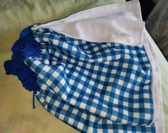 Blue checked towel with crocheted top...