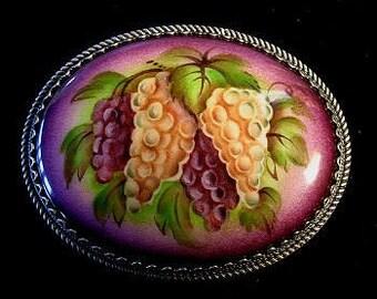 Grapes Oval Box Russian Enamel