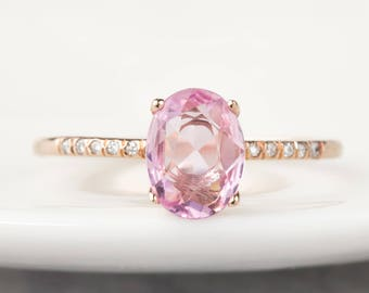 14k rose gold 0.96ct natural unheated pink sapphire pave engagement ring, oval cut, unheated sapphire, can-r102