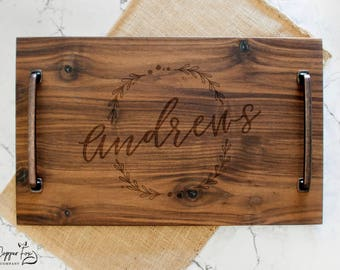 Personalized Serving Tray - Solid Walnut Wood - Wood Serving Tray - Wooden Serving Tray - Personalized Serving Platter - 005