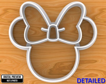 Minnie Mouse Cookie Cutter, Detailed Or Outlined, Selectable sizes.