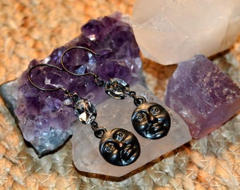 Celestial Moon Face Earrings, 20mm Moon Face Charms made from Antiqued Dark Pewter, Boho Jewelry, Spiritual Earrings.