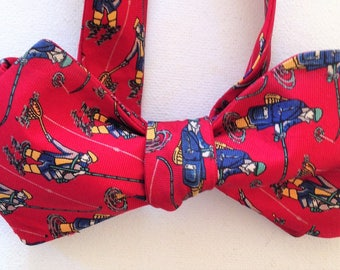 Silk Bow Tie for Men - Fishing - One-of-a-Kind, Handcrafted - Self-tie - Free Shipping
