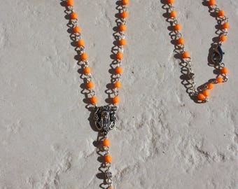 """Rosary ' neon orange rosary"" faceted beads"