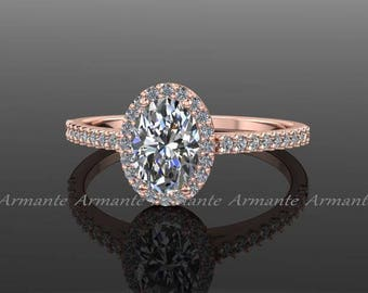 Rose Gold Forever One Oval Moissanite Engagement Ring, 14K Rose Gold Moissanite And Conflict Free Diamond Wedding Ring RE00174R
