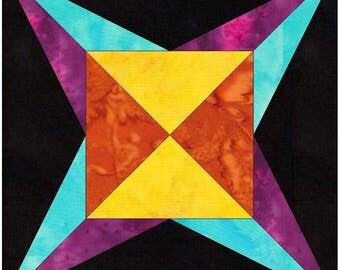 Flame Star 10 Inch Paper Piece Foundation Quilting Block Pattern