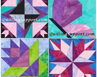 Spring Blocks Set 1 - 15 Inch Block Set of 4 Paper Piece Template Quilting Block Patterns PDF