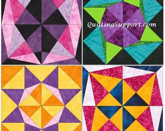 Floral Star Set 1 - 15 Inch Block Set of 4 Paper Piece Template Quilting Block Patterns PDF