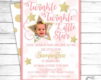Pink & Gold Twinkle Twinkle Little Star Birthday Invitation