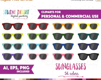SUMMER SALE - 55% OFF 54 Rainbow Sunglasses Clipart Vector Clip Art for Planner Stickers, Summer Clipart Personal & Commercial Use Graphics