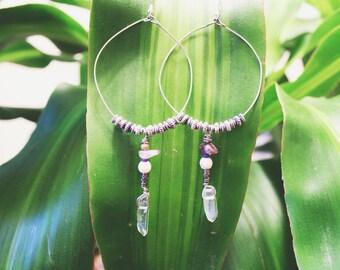 Amethyst & Crystal Quartz Boho Hoops