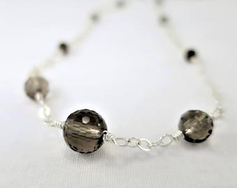 Smoky Quartz Necklace ~ Gemstone Necklace ~ Silver Necklace ~ Wire Wrapped Necklace ~ Layering Necklace ~ Beaded Necklace ~ Zen Necklace