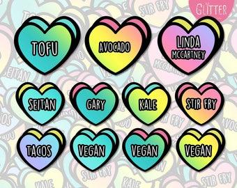 Vegan Hearts Sticker Pack