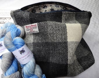 Knitting Bag, Knitting Project Bag in Harris Tweed