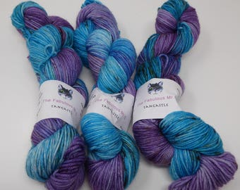 Tangastle: Hand Dyed Yarn, Sock Yarn, DK, Merino, 100gms, Turquoise, Lilac and Speckles