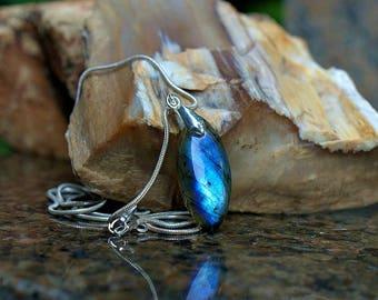 Labradorite necklace natural gemstone charm pendant blue flash handmade jewelry