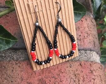 beaded loop earrings boho earrings red white black earrings Game day earrings ladies earrings beaded dangle earrings school colors