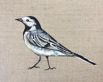 ORIGINAL - Pied Wagtail Acrylic Painting - 20 x 20  cm - Bird Nature Artwork Wall Art - Linen Canvas board - Black White Grey Monochrome