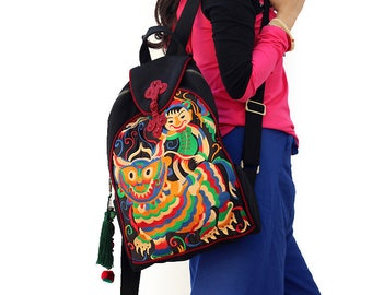 Miya's Original Ethnic Hmong Embroidered Bag Backpack Style Shoulderbag - Fairy