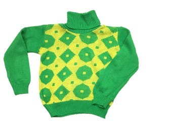 Vintage danish unisec green yellow turtle neck jumper sweater age 3 1970s