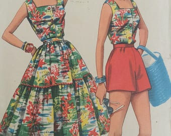 """1950s full skirt, tailored top and shorts pattern, skirt trimmed with ric-rac braid, Economy Design 1950s, Size bust 36"""""""