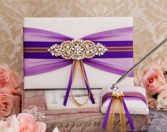Gold Wedding Guest Book, Pen, Pen Holder, Purple Wedding Sign Book, Purple Guest Book, Purple and Gold Wedding Accessories