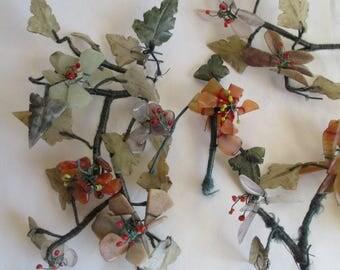 Stone flowers - Rock Art - Chinese Antiques - Gem Stone Flowers - Oriental Art - Home Decor - Vintage Decor - Free Shipping