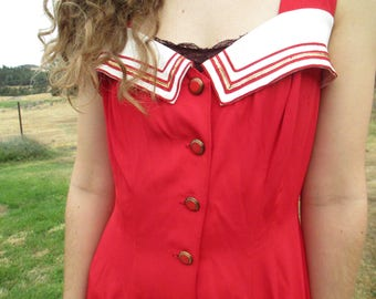 Sailor Dress - Red with White - Vintage - Beach Wear - Very Stylish! Great Buttons! Wonderful Dress in Very Good Condition! Size 8