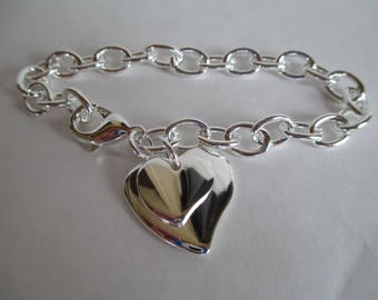 Heart Bracelet - Sterling 9.25,  Bracelet Chain - Two Sterling Hearts - Marked - Make Bracelet - Wear As Is, Perfect for Engraving FREE SHIP