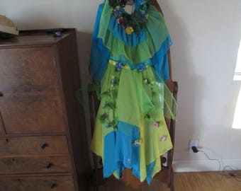 Fairy Costumes - Wings - Wreaths - Chiffon - Wonderful  - Flowers - Yellow- Lime - Turquoise - LOOK at our other 5 Fairy Costumes!