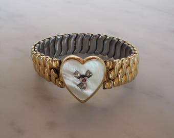 40's-50's Co Star sweetheart bracelet 12 k gold with mother of pearl heart