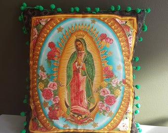 Our lady of guadalupe decorative pillow green design with green pom poms