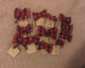 Buffalo Plaid Dog Collar Bows and Bow Ties