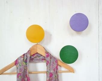 3 Wooden wall hooks / jewellery holders