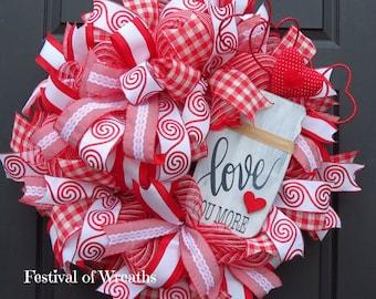 Valentine Deco Mesh Wreath - Valentine Front Door Wreath - Valentine Decor - Valentine Mesh Wreath - Valentine Wreath - Valentine's Day