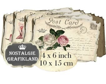 Roses Postcards Vintage Papers  Ephemera Decoupage French printable 6 x 4 inch Instant Download digital collage sheet D110