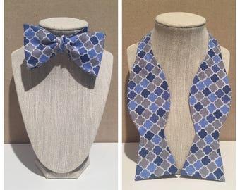 Multi shades of blue and white lattice print adjustable self tie bow tie
