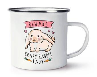 Beware Crazy Rabbit Lady Retro Enamel Mug Cup