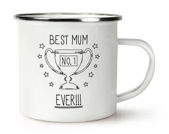 Best Mum Ever No.1 Retro Enamel Mug Cup
