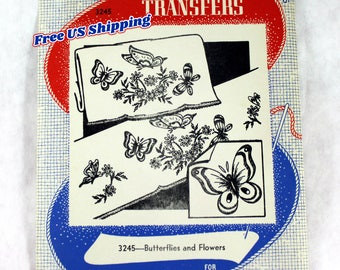 Aunt Martha's 3245 Hot Iron Transfers, Butterflies and Flowers, Uncut/Unused
