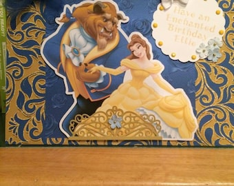 Beauty and the Beast, Belle Birthday card, disney princess card, Princess birthday, daughter birthday card, beast birthday card