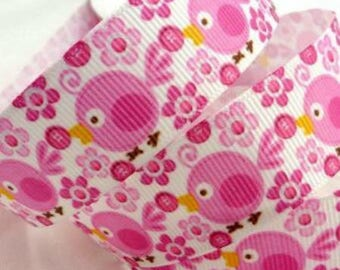 1 meter birds and fleurs☆ theme grosgrain Ribbon 2, 5cms ☆ 1 m