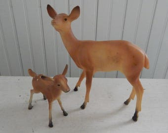 Plastic Doe and Fawn Christmas Figurines - Kitschy 1960's Made in Hong Kong - Mid Century Christmas Deer and Fawn - Set of Two Plastic Deer