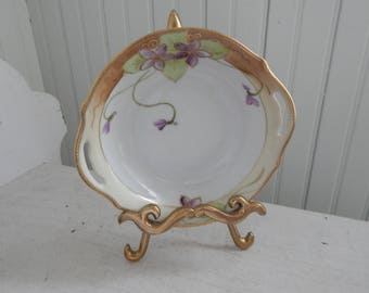 Hand Painted Nippon Nappy Bowl - Hand Painted Violets with Gold Gilt Detailing - Antique Serving Bowl for Condiments, Snacks, or Desserts